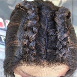 Brown Highlights two Braid long Lacefront Wig 2020